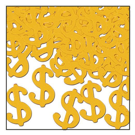 "Casino Decorations ""$"" Confetti Gold Image"