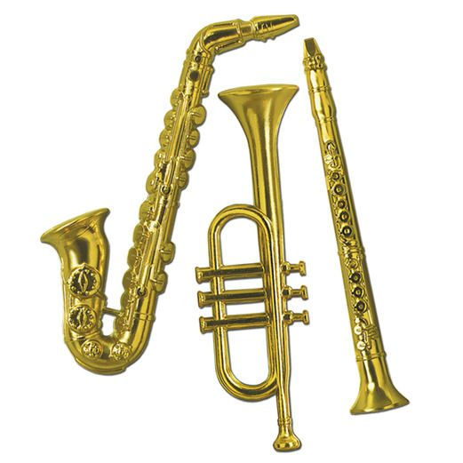 Fifties Decorations Gold Musical Instruments Image