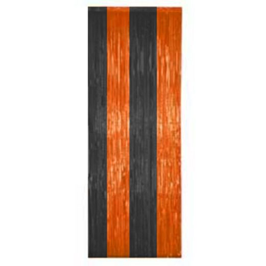 Halloween Decorations Orange and Black Fringe Curtain Image