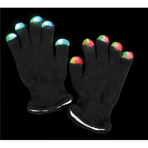 Glow Lights Black Flashing Glove Image
