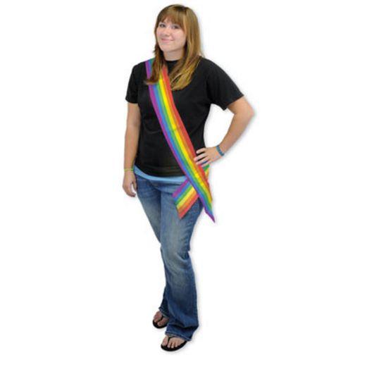 Party Wear Rainbow Satin Sash Image