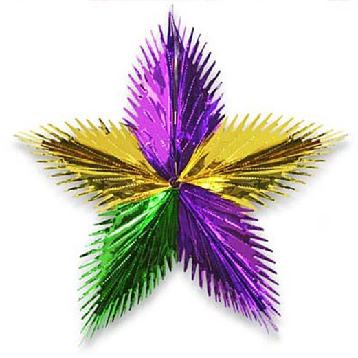 "Mardi Gras Decorations 24"" Green, Gold, Purple Leaf Starburst Image"