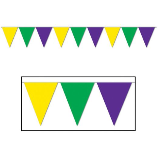 Mardi Gras Decorations Green, Gold and Purple Pennant Banner Image