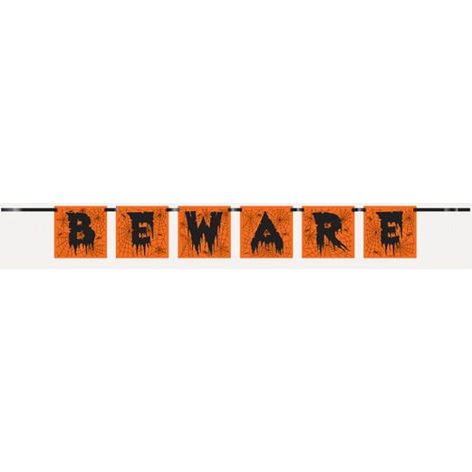 "Halloween Decorations ""Beware"" Block Banner Image"