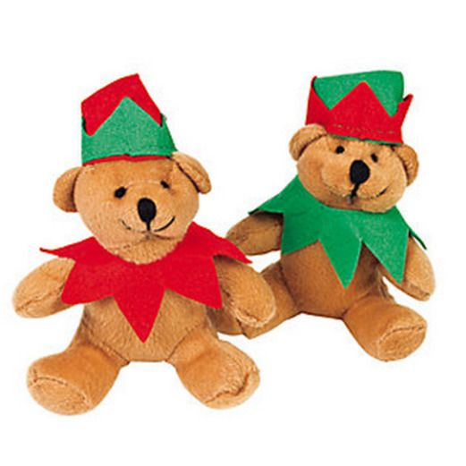 Christmas Favors & Prizes Plush Holiday Elf Bear Image