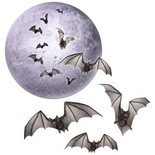 Halloween Decorations Moon & Bat Cutouts Image