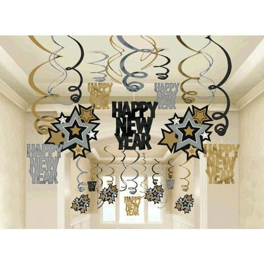 New Years Decorations Happy New Year Swirls Value Pack Image
