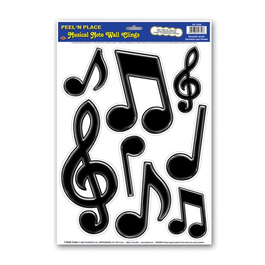 Music Decorations Black Notes Glass Clings Image