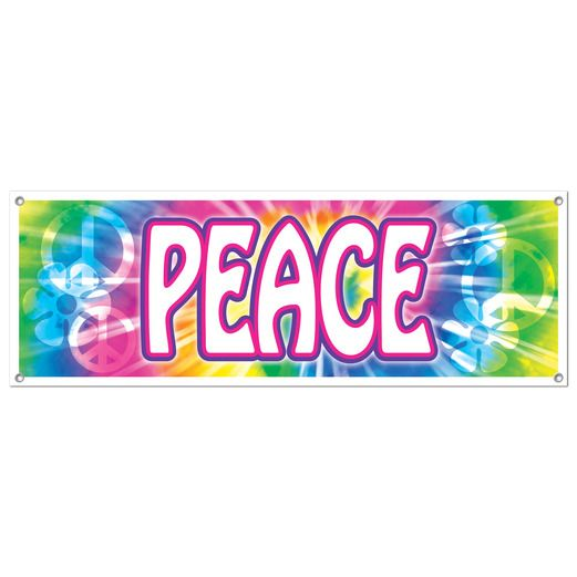 60s & 70s Decorations Peace Sign Banner Image