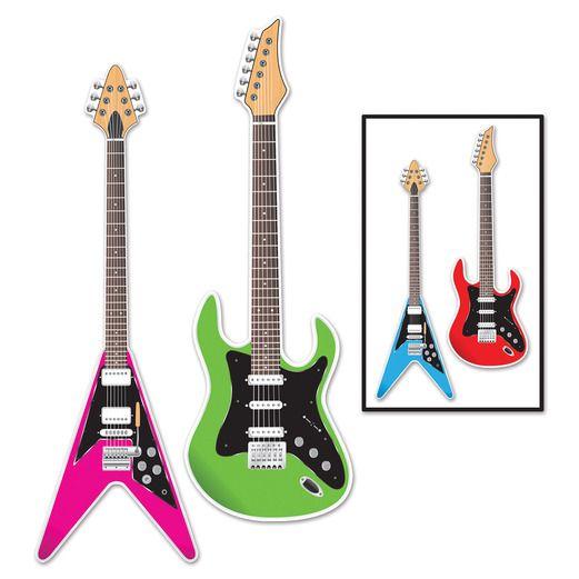 60s & 70s Decorations Guitar Cutouts Image