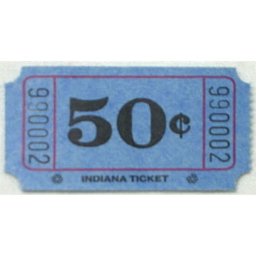 Tickets & Wristbands Blue 50 Cent Ticket Roll Image