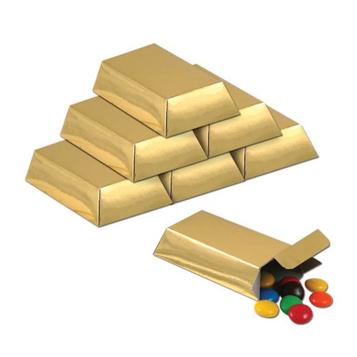 Birthday Party Decorations Gold Bar Favor Boxes Image