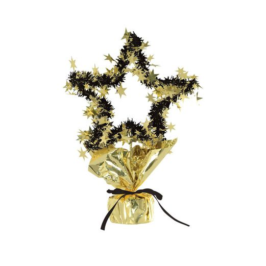 New Years Decorations Star Shape Centerpiece Black-Gold Image