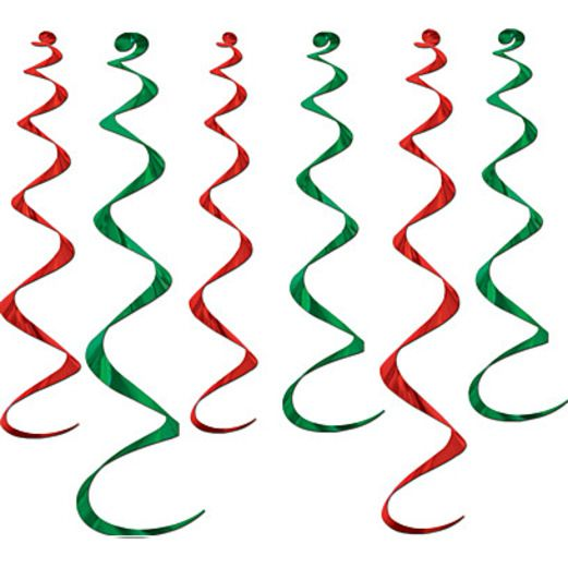 Christmas Decorations Red and Green Twirly Whirlys Image