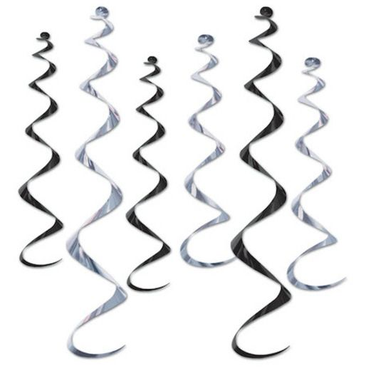 New Years Decorations Black and Silver Twirly Whirlys Image