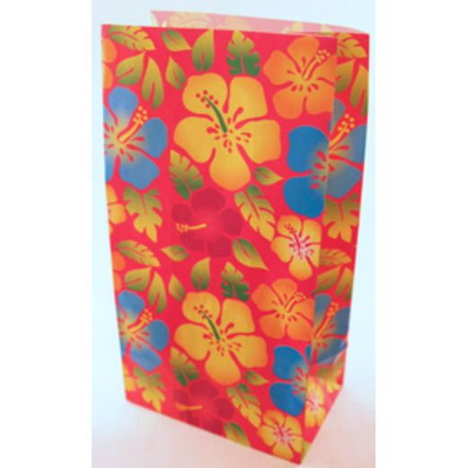 Luau Gift Bags & Paper Hibiscus Paper Bags Image