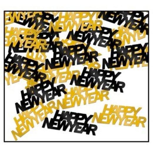 Confetti Black and Gold Happy New Year Confetti Image