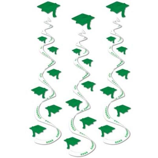 Graduation Decorations Green Printed Grad Cap Whirls Image