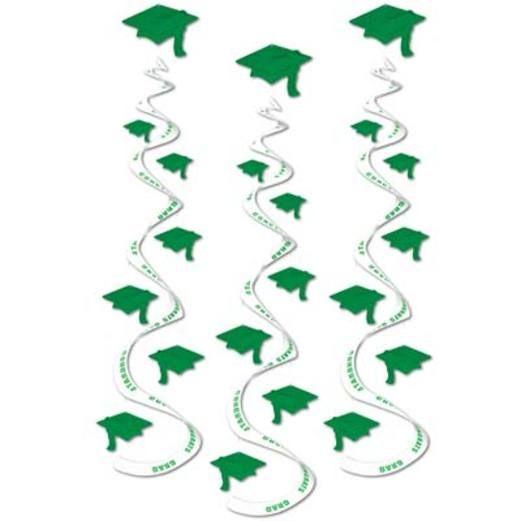 Green Printed Grad Cap Whirls
