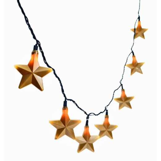 New Years Decorations Gold Star Light Set Image