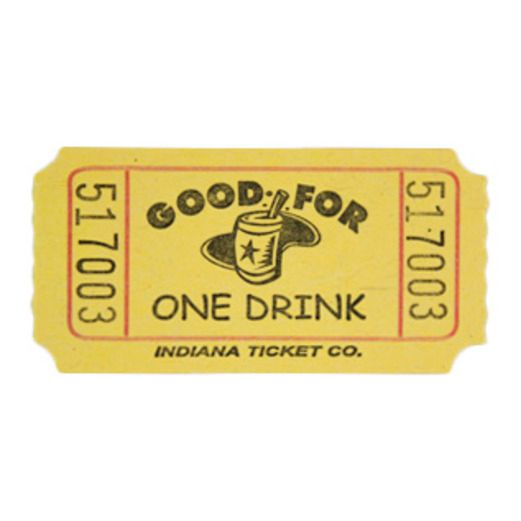 Tickets & Wristbands Yellow Drink Ticket Roll Image
