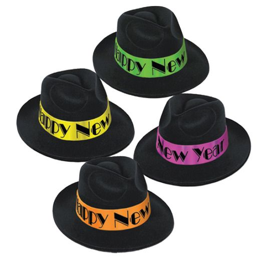 New Years Hats & Headwear Neon Swing Fedora Image