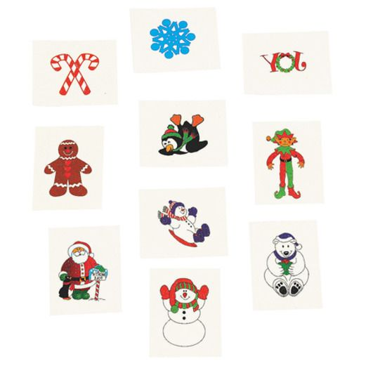 Christmas Favors & Prizes Glittered Holiday Tattoos Image