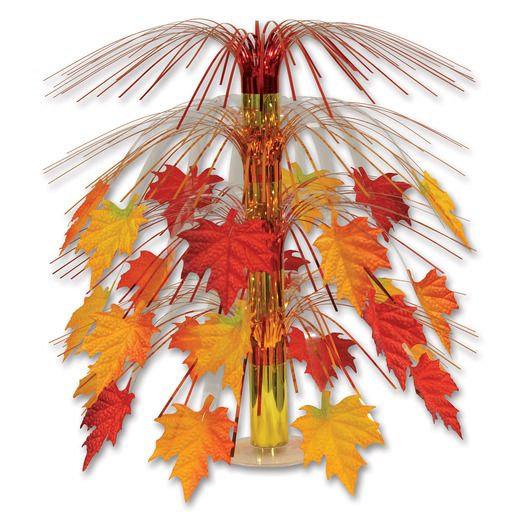 Thanksgiving Decorations Fabric Fall Leaves Cascade Centerpiece Image