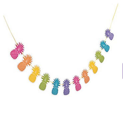 Luau Decorations Bright Pineapple Garland Image