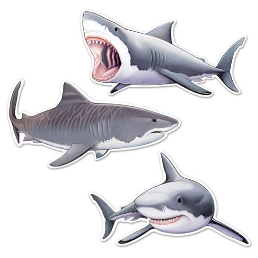 Luau Decorations Shark Cutouts Image