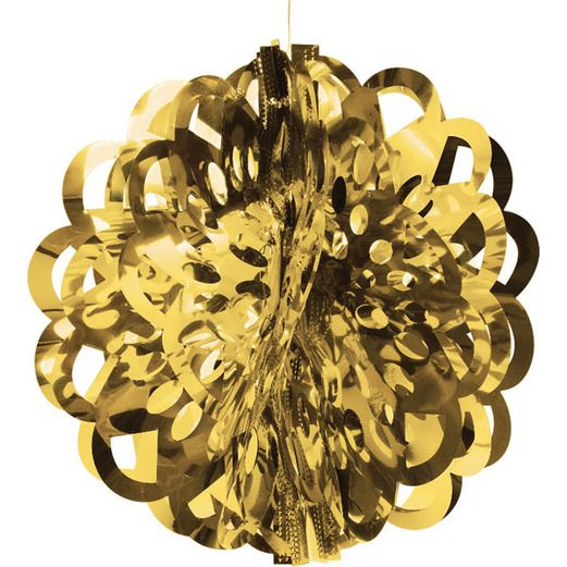 "New Years Decorations 16"" Gold Foil Ball Image"