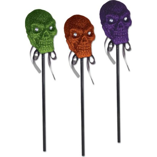 Halloween Decorations Glittered Skull on a Stick DSC Image