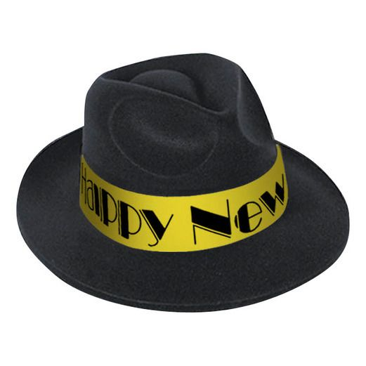 New Years Hats & Headwear Gold Happy New Year Fedora Image