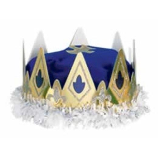Mardi Gras Hats & Headwear Queen's Crown Blue Velour Image