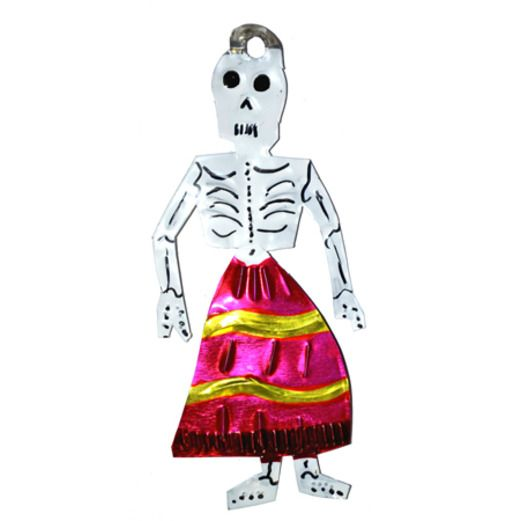 Day of the Dead Decorations Skeleton in Pink Skirt Tin Ornament Image