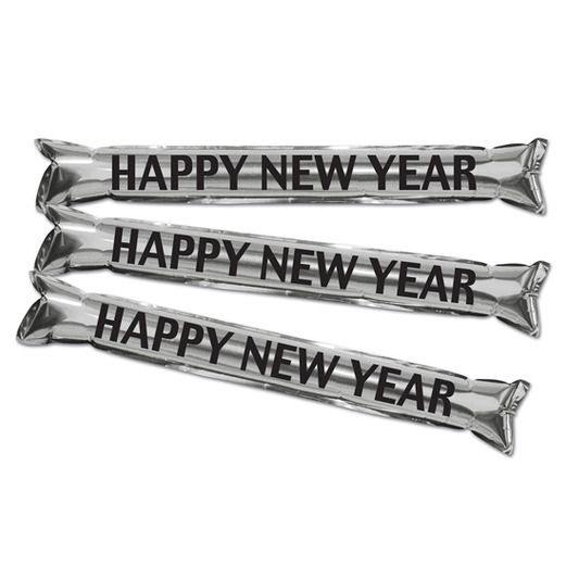 New Years Favors & Prizes Happy New Year Black and Silver Party Sticks Image