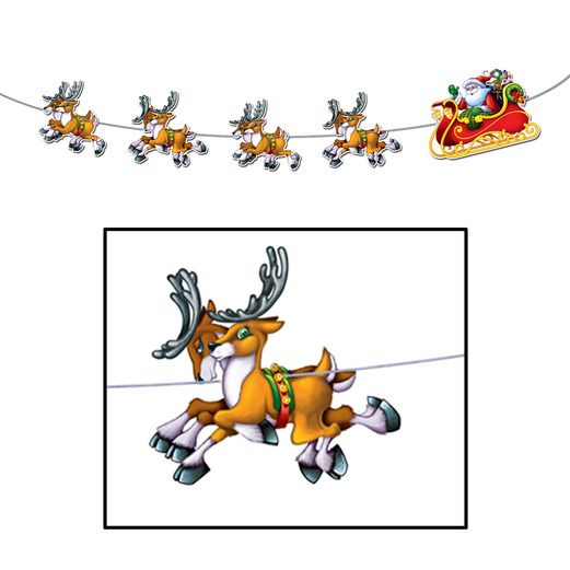 Christmas Decorations Santa and Sleigh Streamer Image