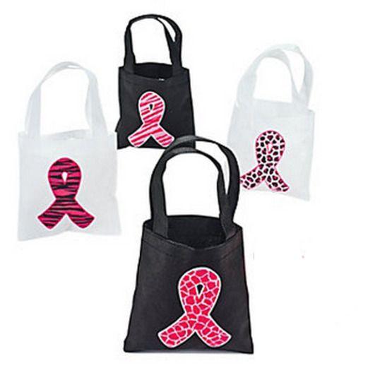 Favors & Prizes Pink Ribbon Mini Tote Bags Image
