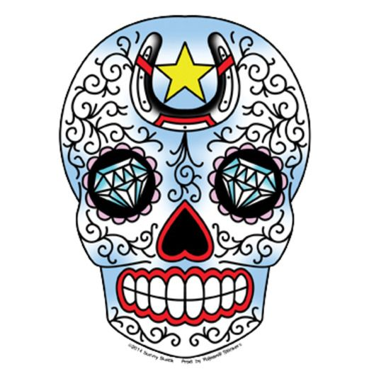 Day of the Dead Favors & Prizes Horseshoe Sugar Skull  Sticker Image