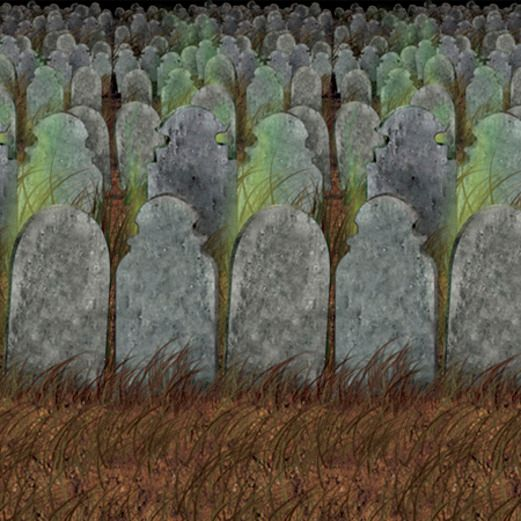 Halloween Decorations Graveyard Backdrop Image