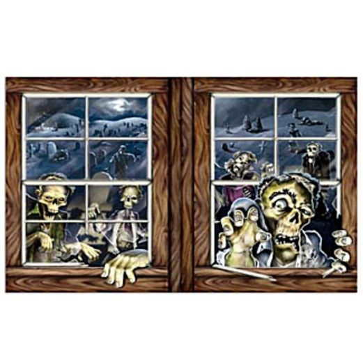 Halloween Decorations Zombie Attack Wall Scene Image