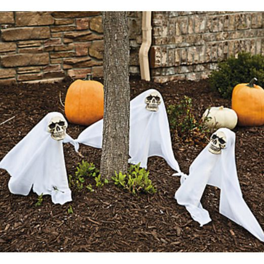 Halloween Decorations Ghost Yard Stakes with Lights Image