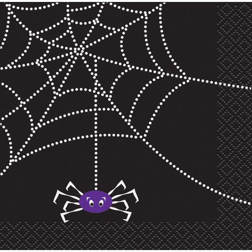 Halloween Table Accessories Spider Web Beverage Napkins Image