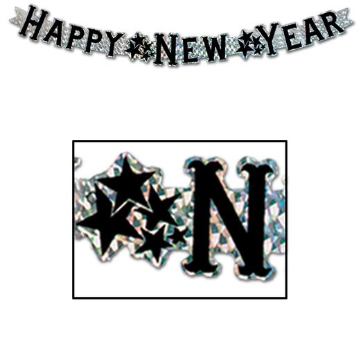 New Years Decorations Silver Prismatic New Year Streamer Image