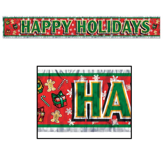 Christmas Decorations Metallic Happy Holidays Banner Image