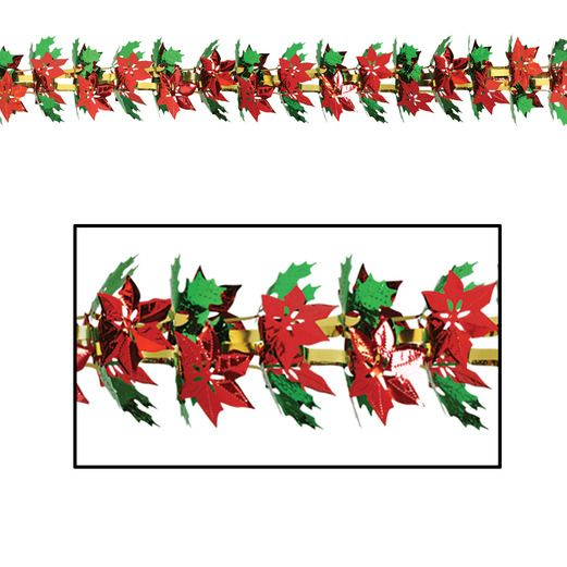 Christmas Decorations Poinsettia & Holly Garland Image