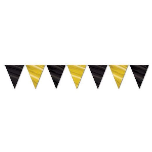 New Years Decorations Black and Gold Pennant Banner Image