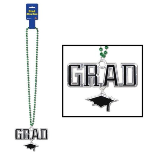 Graduation Party Wear Green Bead Necklace with Grad Medallion Image