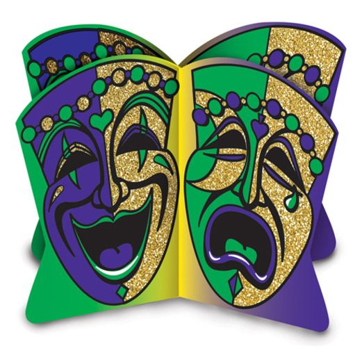 Mardi Gras Decorations Glittered 3D Mardi Gras Centerpiece Image
