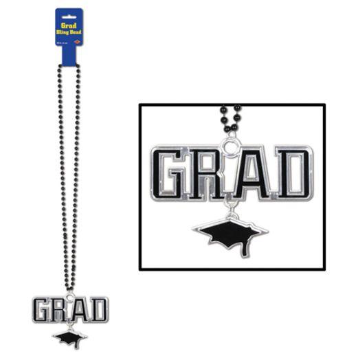 Graduation Party Wear Black Bead Necklace with Grad Medallion Image